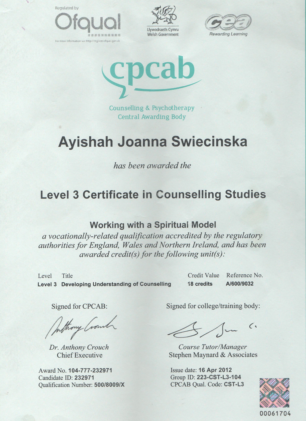 Lev 3 Counselling Studies